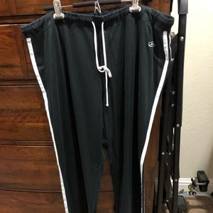 Black with white stripes joggers.